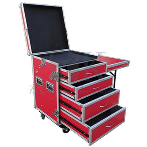 custom red drawer flight case tool cases with side table